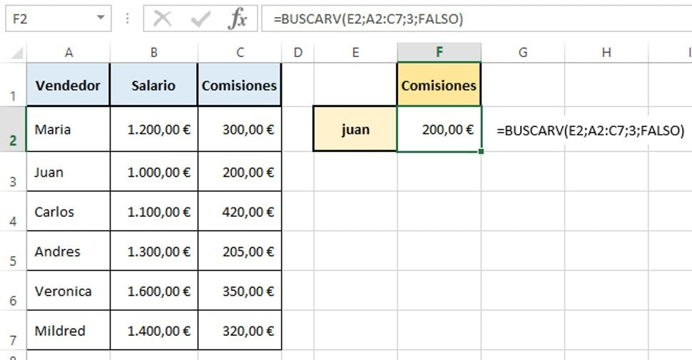 funcion buscarv de excel